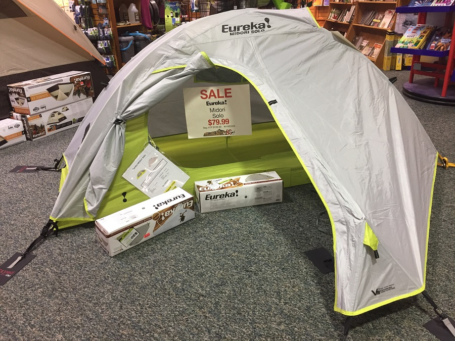 retail store backpacking tents on display; better than the average high price of tents