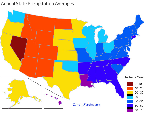 US state precipitation by year from the Current Results website.